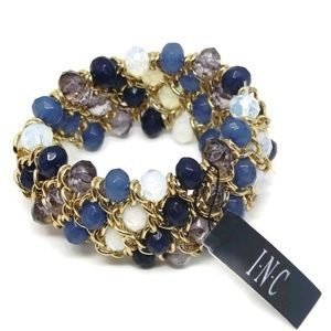 INC Gold-Tone Mixed Rondelle Bead Stretch Bracelet